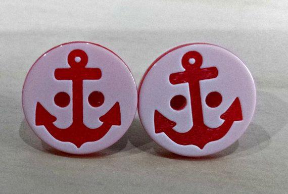 99p Button earrings Nautical anchor earrings by KelwayCraftsYorkshir