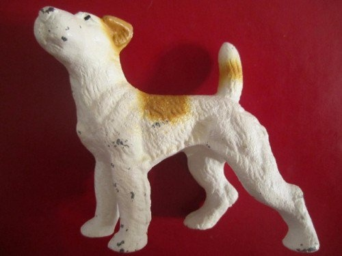 GoldenDaysGoneBy is having a SALE! 20% off all items in the shop!  Antique Vintage Victorian Painted Cast Iron Wire Hair Terrier Dog Toy