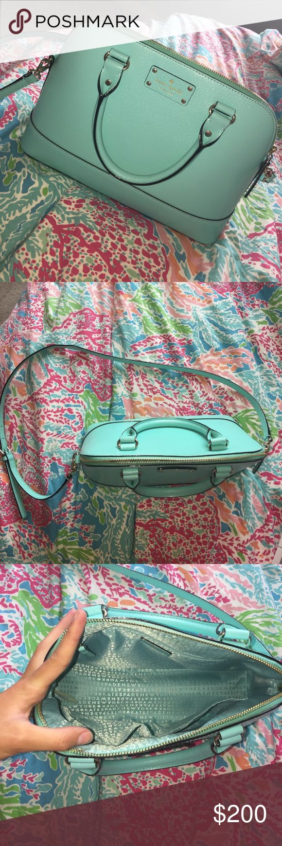 Kate spade large teal purse Beautiful and new condition kate spade bag! Purchased last summer but I have decided I would rather have a kate spade tote instead! Great condition zero flaws TRADES WELCOME kate spade Bags Shoulder Bags