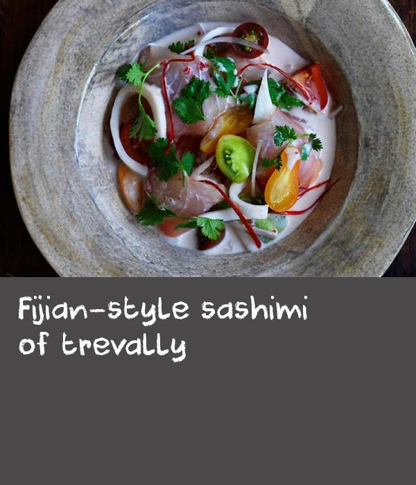 Fijian-style sashimi of trevally | A dish influenced by one of my best friends, fellow chef, Louis Tikaram. Louis has a Fijian background and he once told me about one of Fiji's national dishes, called kokoda, which incorporates coconut milk into a ceviche mix. This is my take on kokoda (pronounced kokonda), which infuses some of my Vietnamese heritage into the dish. When I asked Louis what he thought about me doing that, he said: 'Sounds tasty.' And that's what the food at Ms G's is all…