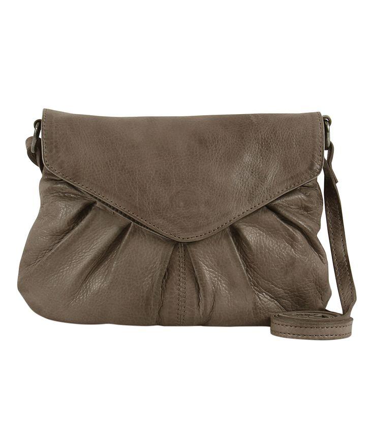 Warm Gray Elderflower Leather Crossbody Bag