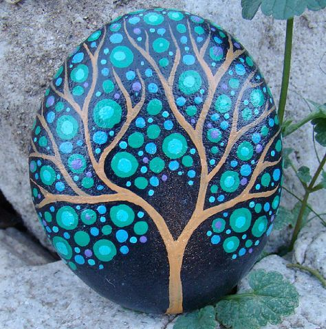 THIS TREE ROCKS- a hand painted tree stone