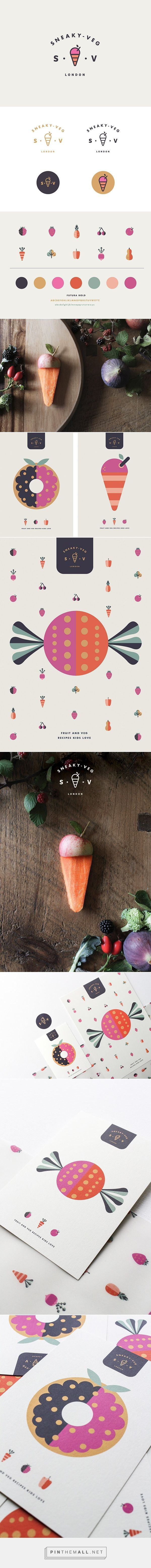 Such a great brand identity. Cute and clean. I like the use of flat elements and icons throughout. Sneaky Veg Brand Identity.