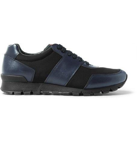 PRADA Match Race Leather and Neoprene Sneakers . #prada #shoes #sneakers