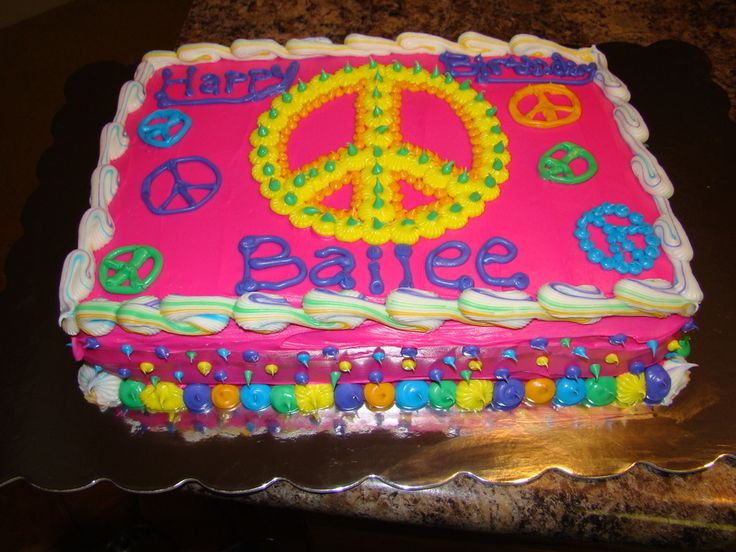 Cake Decorating Ideas Peace Sign : peace sign sheet cakes Pin Peace Of Cake Kakeform ...
