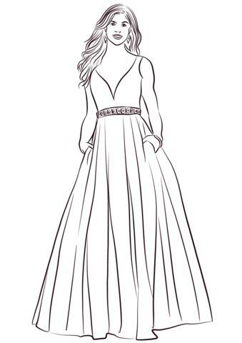 Бальное платье Раскраска   Рисунки для раскрашивания ...