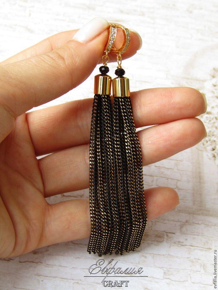 Мастерим серьги-кисти с цепочками - Ярмарка Мастеров - ручная работа, handmade