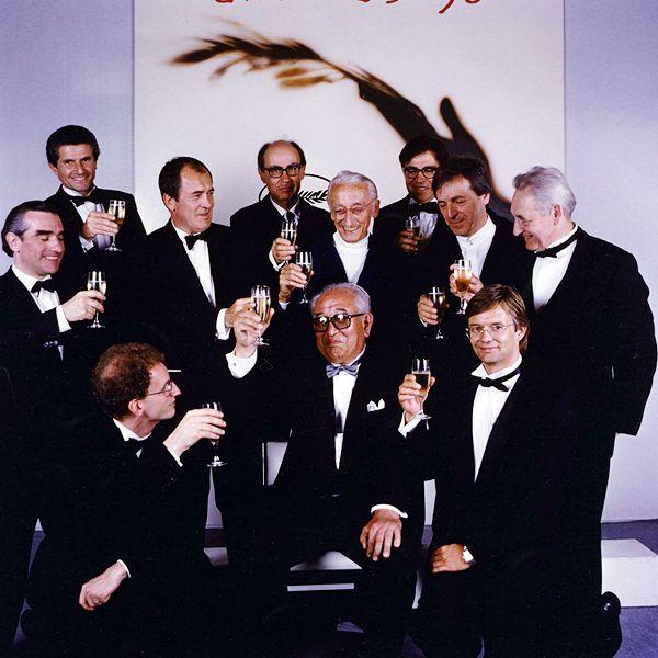 "mindo80: "" Claude Lelouch, Bernardo Bertolucci, Paolo and Vittorio Taviani, Jacques Cousteau, Costa-Gavras, Andrzej Wajda, Martin Scorsese, Steven Soderbergh, and Bille August raise a glass to Akira Kurosawa at the 1990 Cannes Film Festival """
