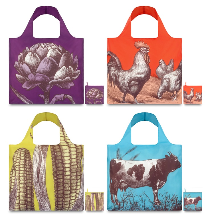 LoQi Farm Collection. These amazing foldable shopping totes are available for only $13.90 at The Planet Traveller