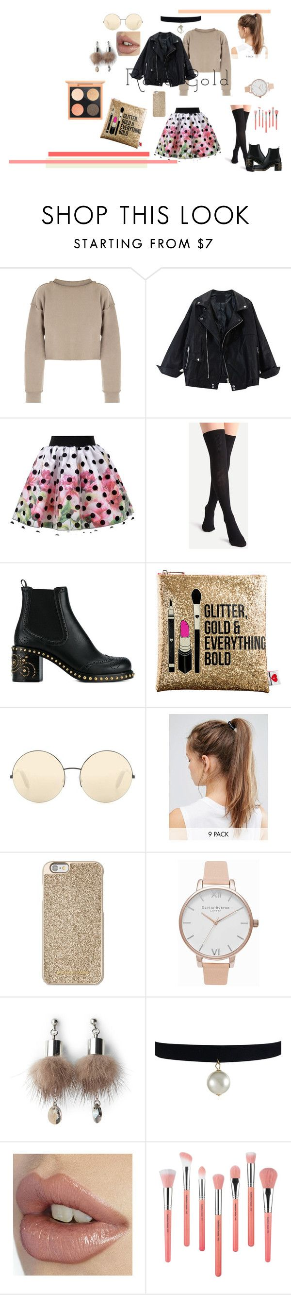 """""""So Pretty: Rose Gold Jewelry"""" by beautiful-me14 ❤ liked on Polyvore featuring My Mum Made It, Love Made Love, Miu Miu, Sephora Collection, Victoria Beckham, NIKE, Michael Kors, Olivia Burton, Simons and Bdellium Tools"""