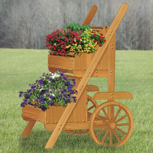 "Cedar Market Cart Planter Pattern:  Attractive display for flowers or selling vegetables by the road. 75""T x 42""W x 48""D. Parts Req'd: Mushroom Head Plug (3) W-205  Item# 2356  $12.95     (crafting, crafts, woodcraft, pattern, woodworking) Pattern by Sherwood Creations"