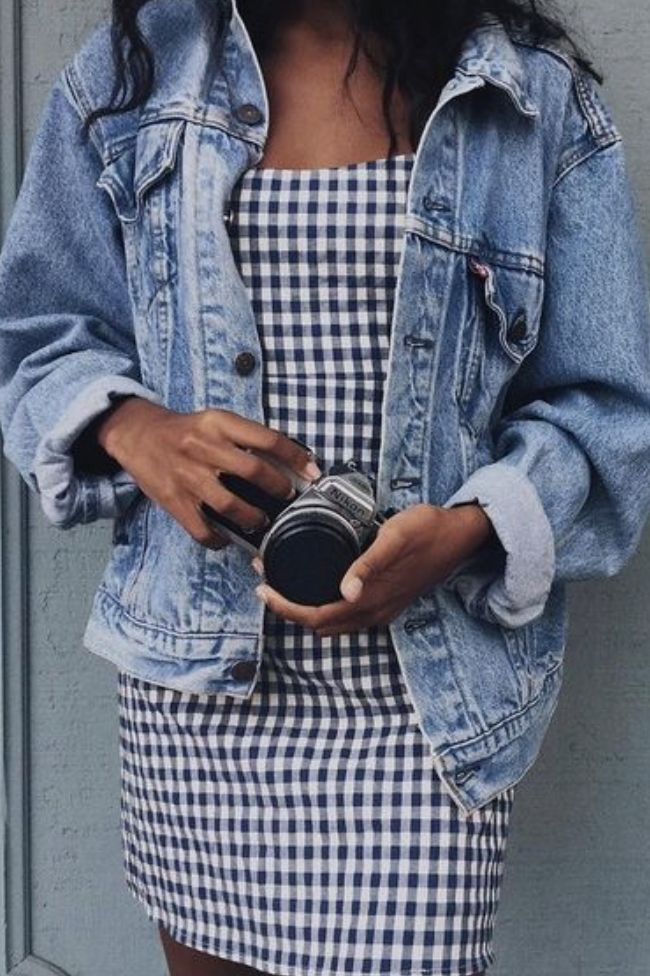 baggy levi's denim jacket + gingham dress