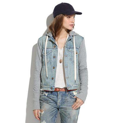 sweatshirt/denim jacket