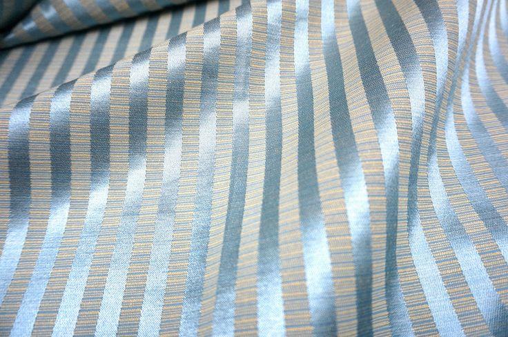 Blue Gray Thick Faux Silk Stripe Fabric 60 Quot W Hi Qlt Drape Tablecloth Curtain Ebay Draped