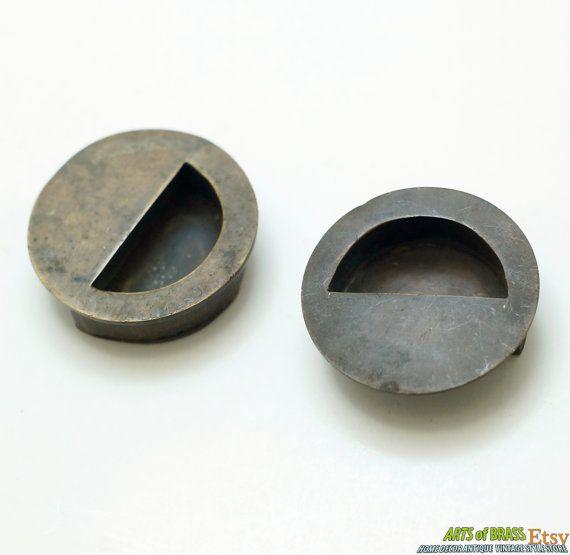 lot of 2 pcs vintage solid brass round baldwin flush pull sliding door cabinet brass knob drawer pulls