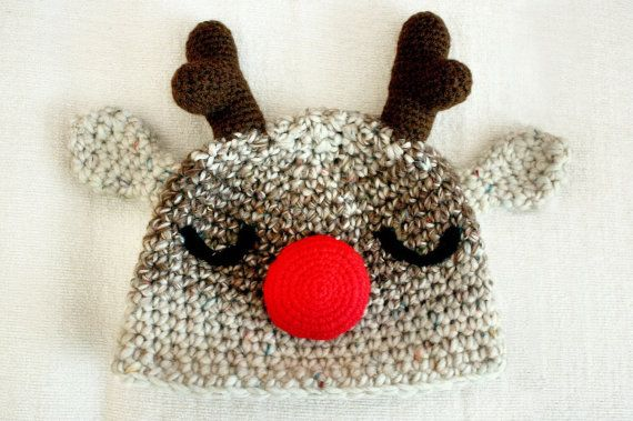 3 to 6m Baby Christmas Hat Reindeer Hat Rudolph Hat by BabaMoon
