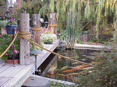 Yard and deck rope landscaping dock pier boat for Garden decking with rope