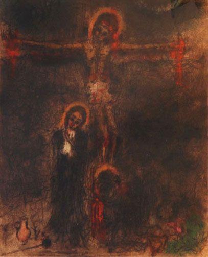 Bohuslav Reynek - Crucifixion (end of 1950's) #graphics #painting #art #Czechia #CzechArt