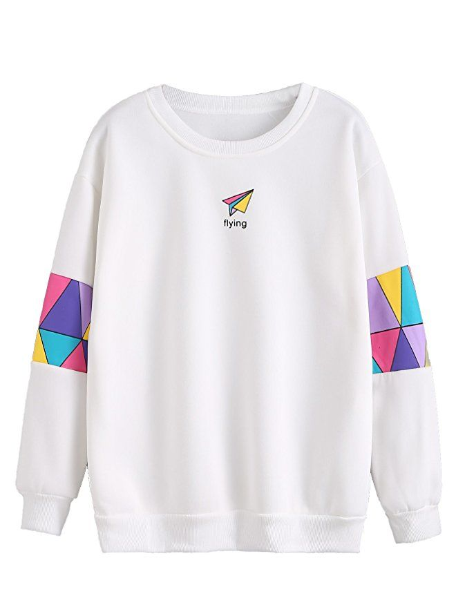 74efdd913 Romwe Women's Top Long Sleeve Color Block Paper Airplane Graphic Print  Patchwork Trim Tee Shirt Sweatshirt at Amazon Women's Clothing store: