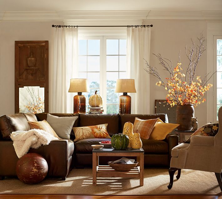 Living room decorated for autumn -- Pottery Barn
