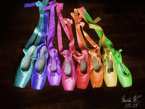 a rainbow of pointe shoes
