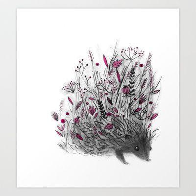 Hedgehog Art Print by Linette No