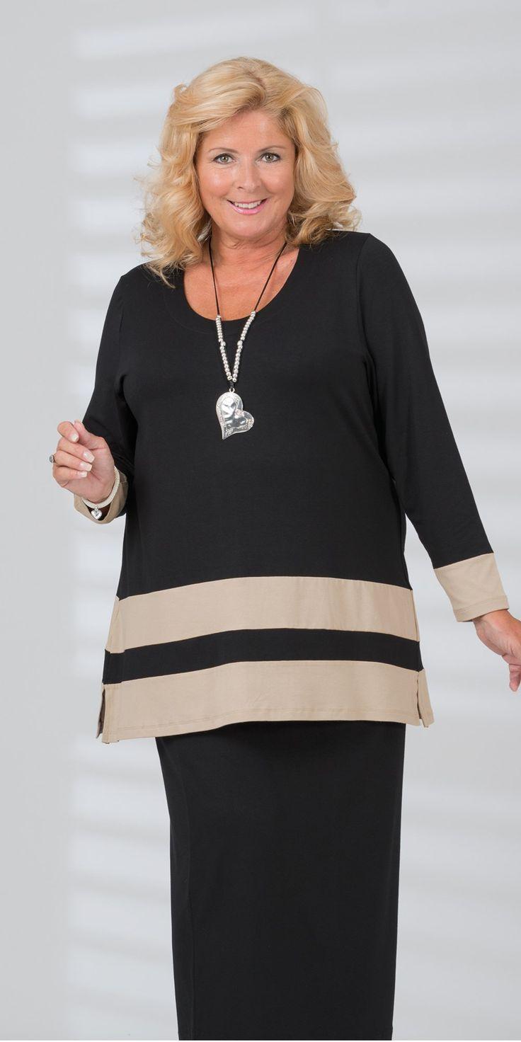 Kasbah black/sand jersey stripe top and skirt