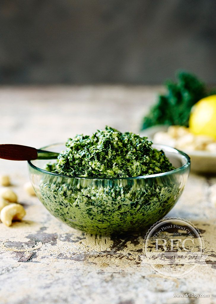 Kale Pesto   Kale, known as the queen of greens, packs a mighty nutritional punch, thanks to its vitamins A, C and K content, plus it's packed full of antioxidants. Eating a diet high in vitamin K, mainly found in leafy greens, may help protect against various cancers. This particular vitamin is also important for great bone health and healthy blood.   www.drlibby.com