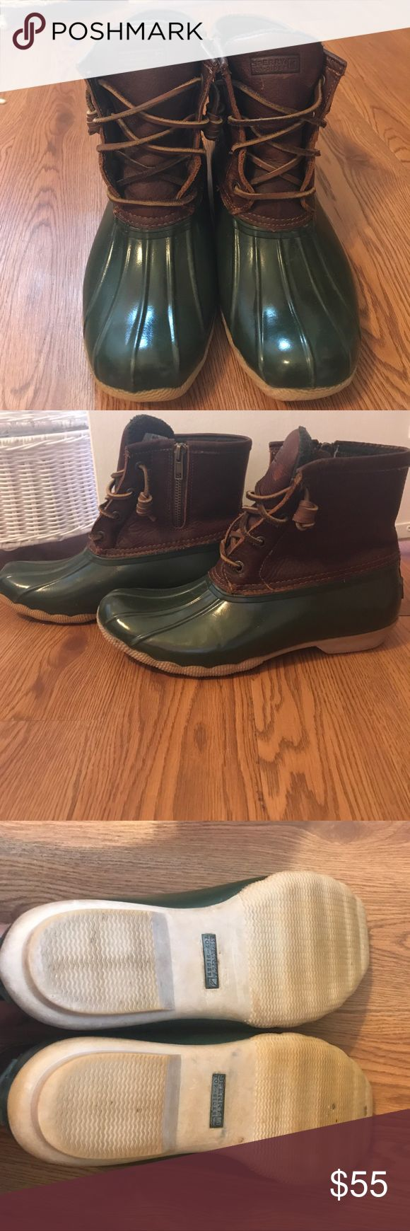 Sperry Top-Sider boot Rain boot with leather top. Zipper on one side. Leather top shows some wear. Inside of shoe is really warm and has flannel type material. Worn but in great condition. Photos are accurate depiction of the condition the shoes are in. Reach on with questions / offers! Sperry Top-Sider Shoes