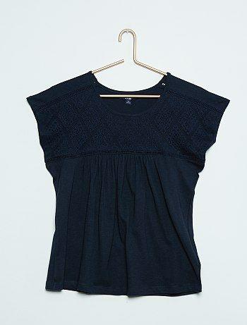 Tee-shirt ample bi-matière dentelle                                                         marine Fille adolescente   - Kiabi