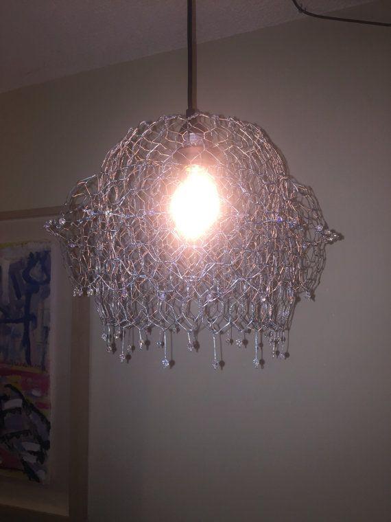 Pendant Hanging Lamp Chandelier Handmade W Chicken Wire And Etsy Hanging Pendant Lamp Hanging Lamp Beaded Chandelier