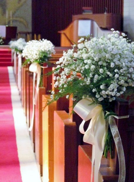 Aisle Decor for the church bows, babys breath and satin ribbon-bows