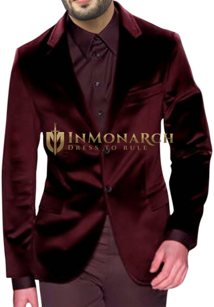 Mens Maroon Velvet Blazer Luxurious Two Button