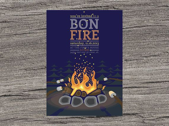 Bonfire Invite Customized 5x7 Printable File By