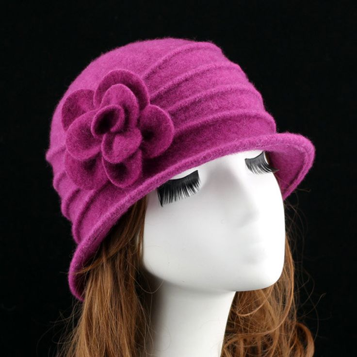 New middle aged women dome fedora 100% wool hat mom hats for autumn and winter solid floral warm floppy hat 7 colors