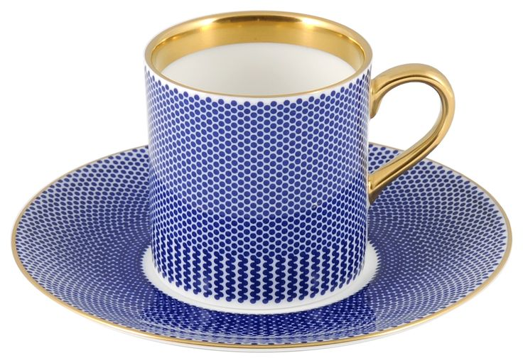 'Benday Cobalt' Espresso Cup & Saucer, hand finished with 22kt Gold gilding, perfect for your shot of coffee to battle the morning 'blues'. Hand made in Stoke-on-Trent, England. A collection that is inspired by Benjamin Day: 'our homage to the dot'. Handwash Only, Fine Bone China. Find out more here: https://thenewenglish.co.uk/collections/benday-cobalt #TheNewEnglish #Benday #Cobalt
