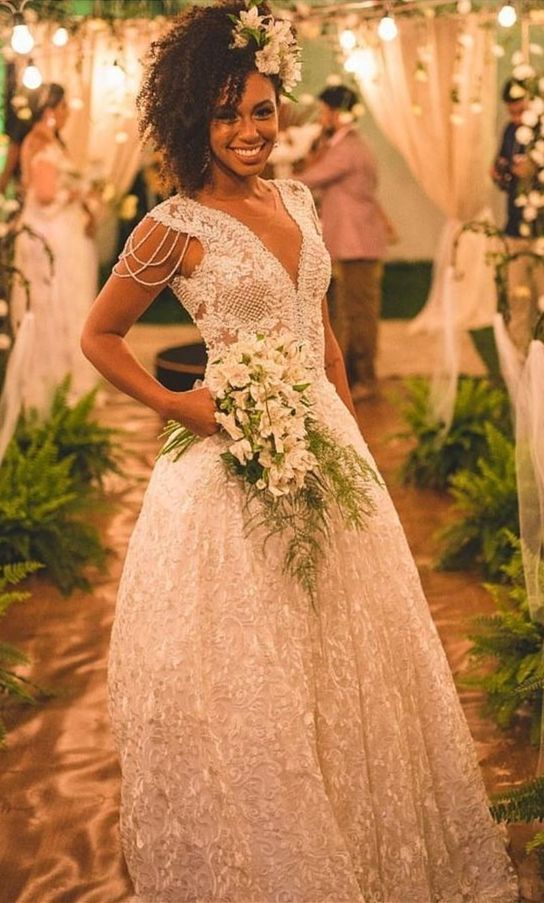 Romantic With Lace Long Wedding Dresses For Bridal Luxury Bridal