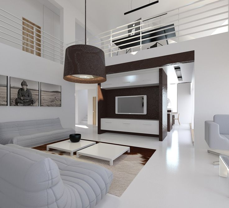 Modern white minimalist with brown accent living room design