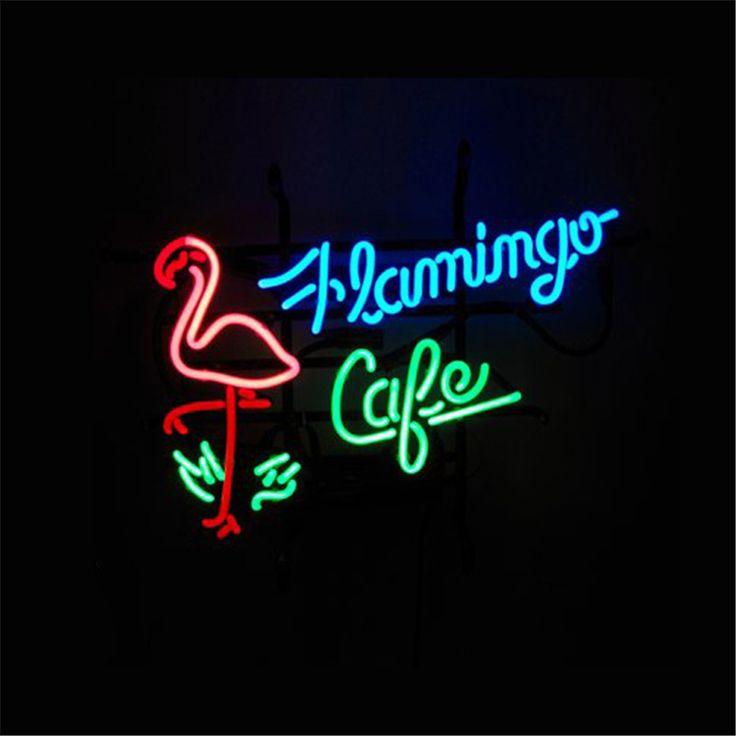 """17*14 """"FLAMINGO CAFE exibição Bilhar Tabuleta VIDRO REAL BEER BAR PUB SINAL de NÉON Restaurante Loja de Luz de natal sinais em Placas & Sinais de Home & Garden no AliExpress.com   Alibaba Group"""
