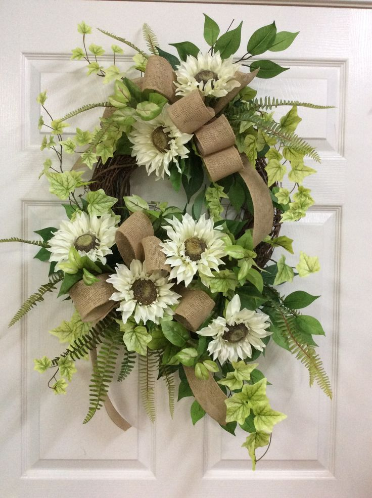 Front door summer white wreath, wreaths for door, wreaths for sale, white floral wreath, wreaths for summer, artificial wreaths, door wreath by TammysCreatedDesigns on Etsy