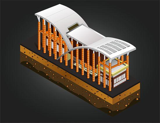 isometric building Soeman H. S library Pekanbaru - Riau - Indonesia