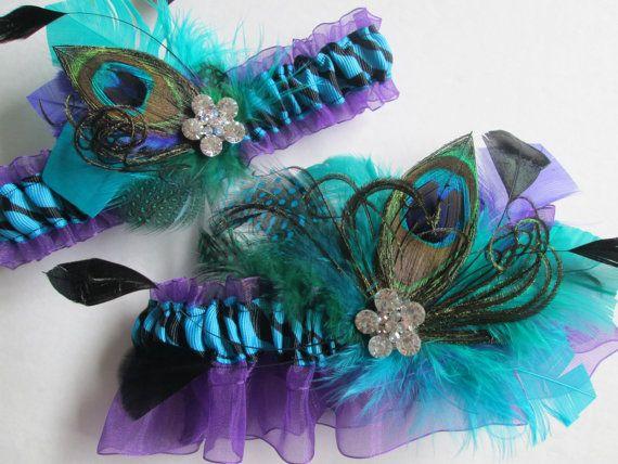 Peacock Wedding Garter Set, Turquoise Garters, Zebra Garter, Purple Organza Garter, Peacock Feather Garter, Crystal Garter. Jade Teal Garter, $72.00