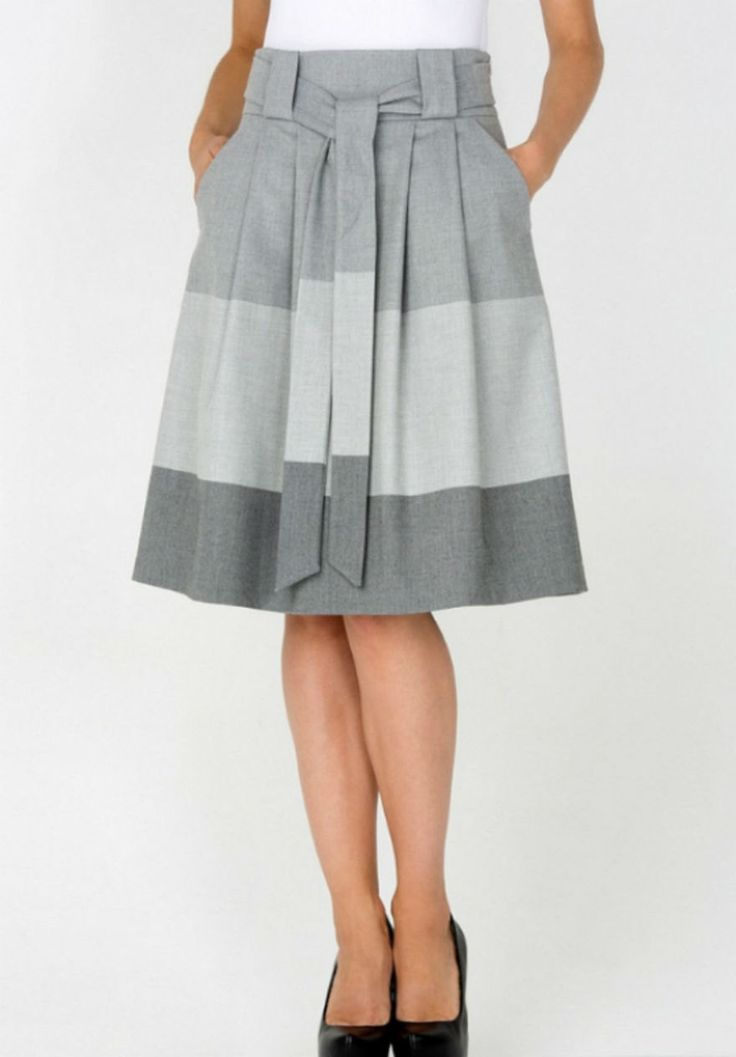 Grey Knee Length Skirt With Belt ,With Pockets Simple Skirt Pleated by FashionDress8 on Etsy https://www.etsy.com/listing/218092659/grey-knee-length-skirt-with-belt-with