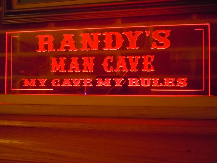 Man Cave Signs That Light Up : Man cave sign led lighted acrylic personalized first name