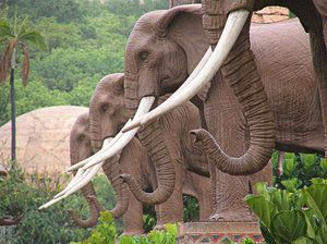 Elephant Statues at the valley of the waves at Sun City South Africa
