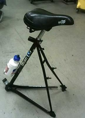 Recycled bike seat stool - this is funny