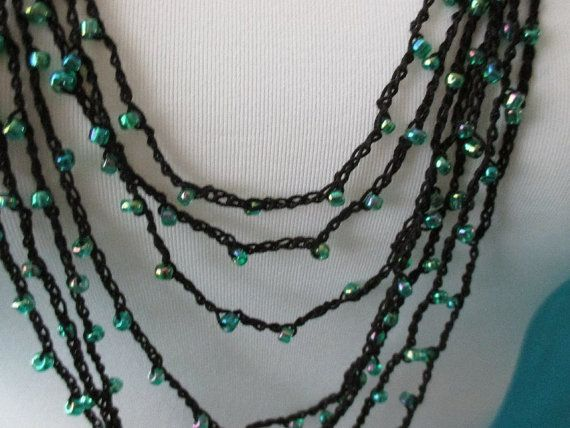 BEADED CROCHET NECKLACE  Green Rainbow Beads by QuackyQuilts