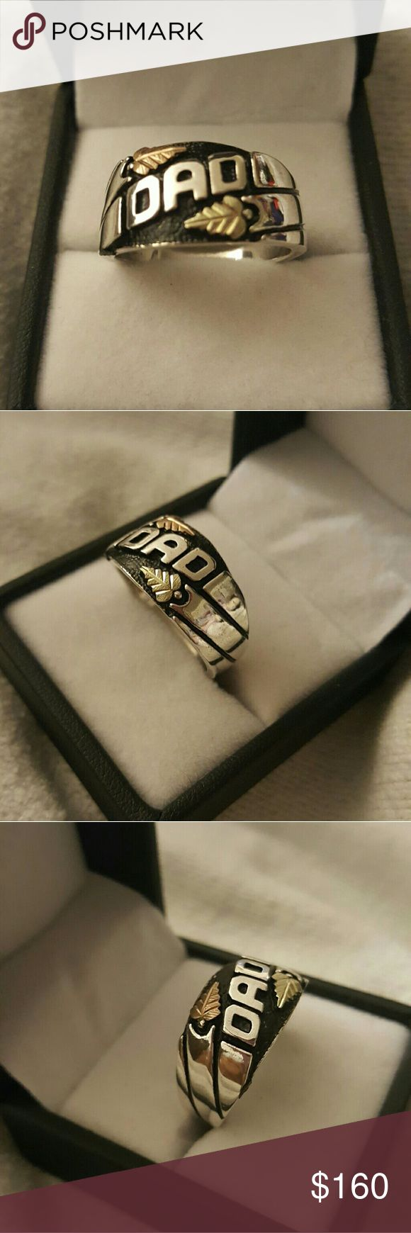 DADS RING BLACK HILLS GOLD BLACK HILLS GOLD 12K DAD STERLING SILVER RING  SZ 10.5 IN GOOD CONDITION  GREAT FOR YOUR SELF OR FOR THAT SOMEONE SPECIAL COMES IN A GIFT BOX BLACK HILLS GOLD BY COLEMAN Accessories Jewelry