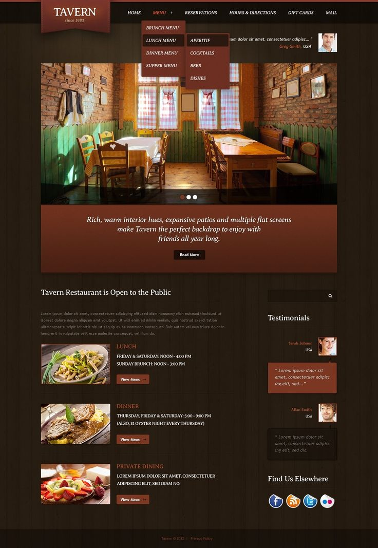 25 beautiful restaurant website templates ideas on pinterest