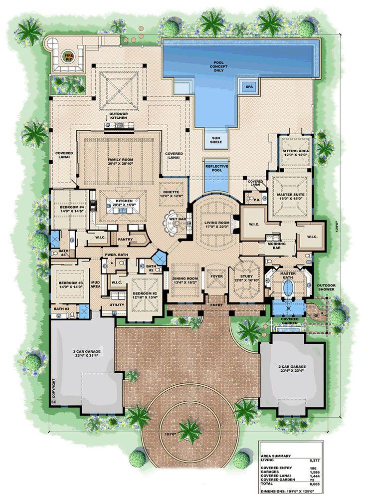 Florida Mediterranean House Plan 75924 Level One